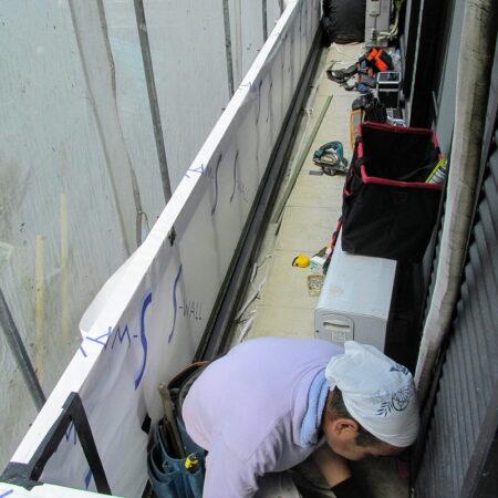 バルコニー外壁サイディング撤去、雨漏り改修工事