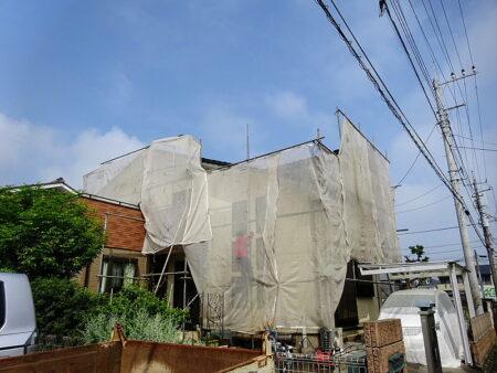 狭山市外壁塗装 施工中の写真