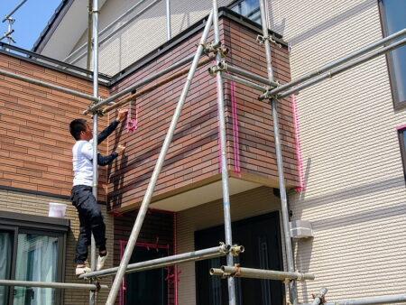 狭山市外壁塗装 施工中の写真 足場