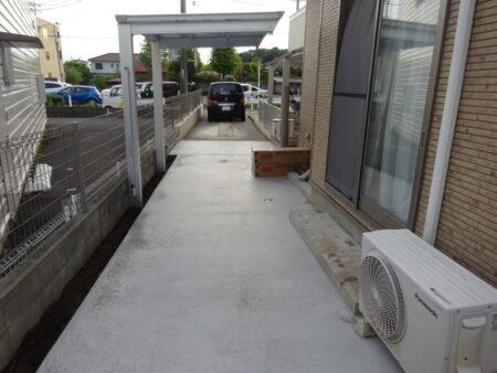 入間市藤沢 S様邸 通路コンクリート打ち・サイクルポート取付工事他